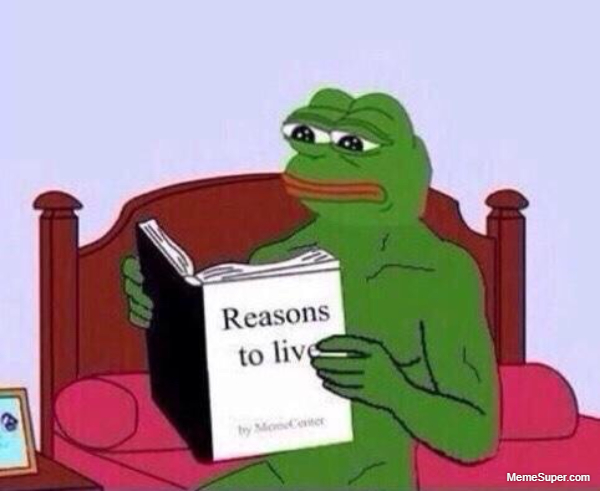 Pepe reading a book titled Reasons to Live